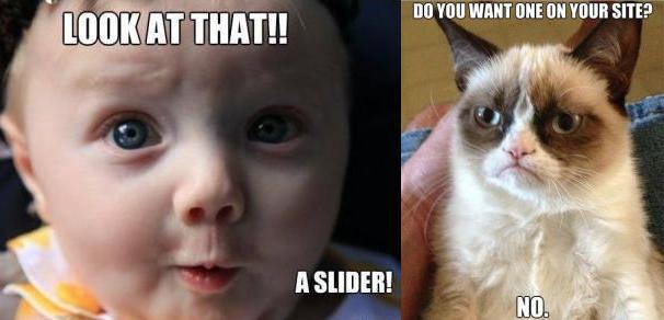 Different views on website sliders